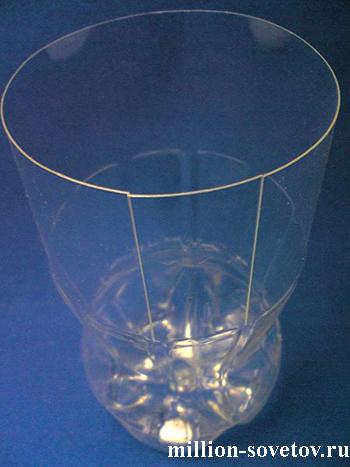 Сделать вазу из пластиковой бутылки