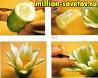 карвинг цветочки из огурцов