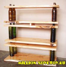 Мебель из дерева и бутылок