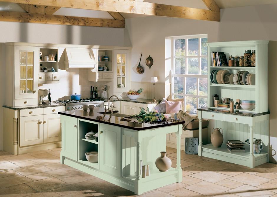 кухня в стиле кантри в зеленом цвете