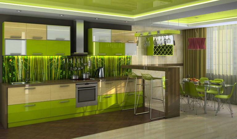 яркая кухня в зеленых оттенках