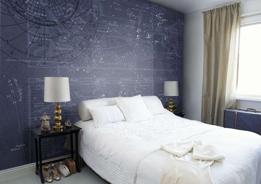 Удачные фотообои в спальне создают атмосферу спокойствия