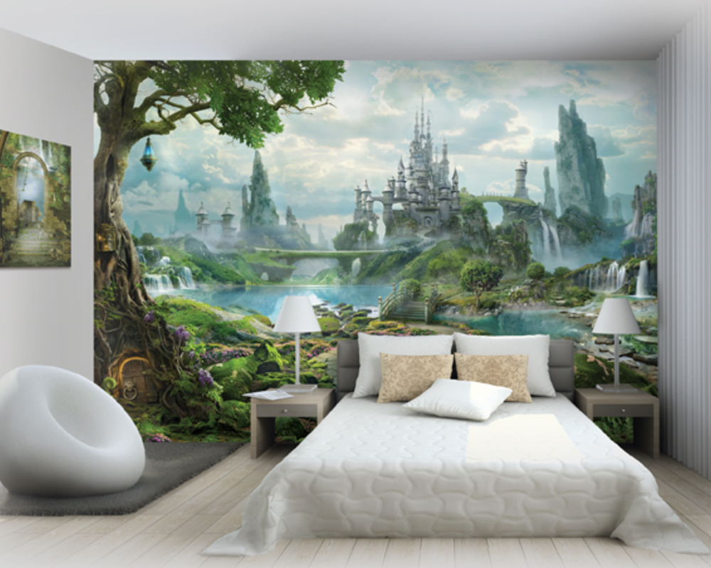 Фотообои со сказочным пейзажем и замком