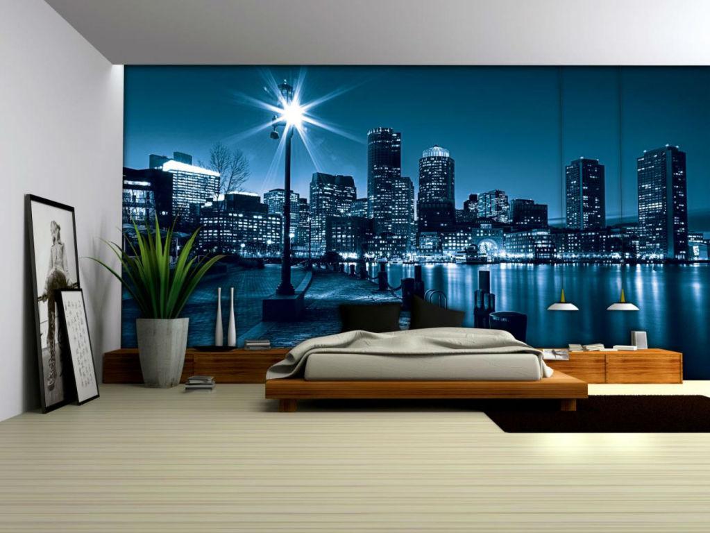 Городские пейзажи создают ощущение мегаполиса в комнате, для спальни используйте аккуратно!