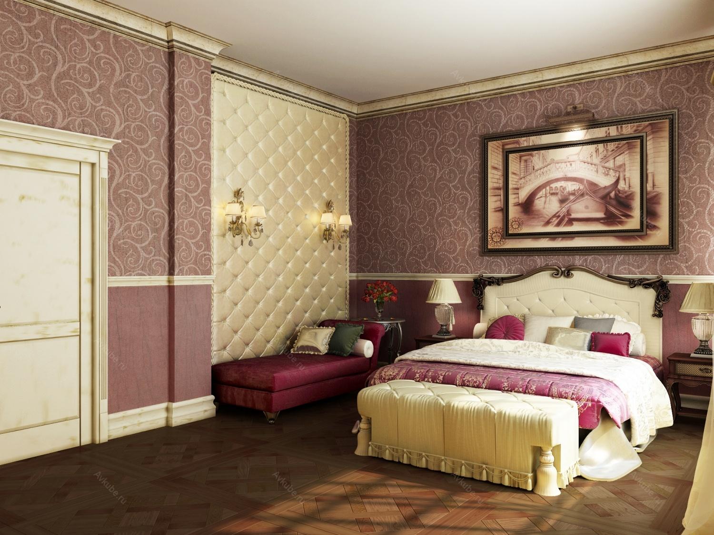 спальня: обои горизонтальными полосоками:  с разным рисунком и близкими оттенками.