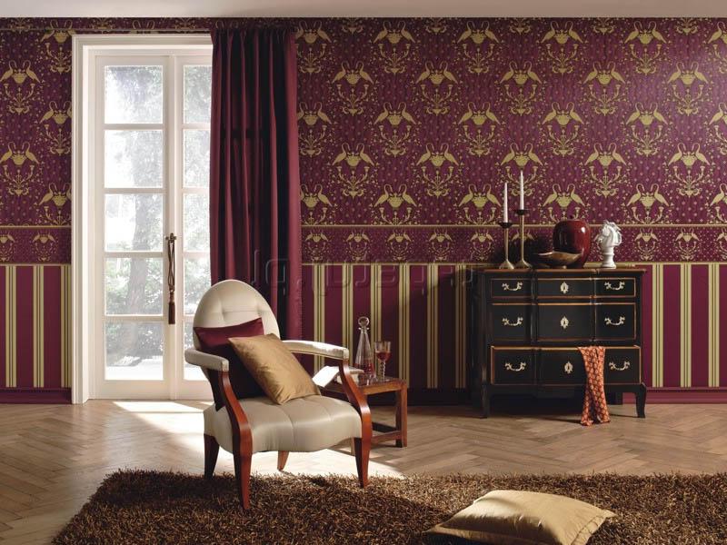 спальня: обои горизонтальными полосоками:  в полоску и с рисунком