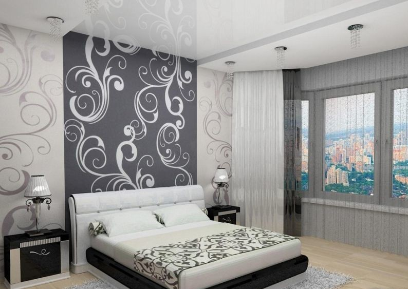 спальня: обои вертикальными полосками: темно-серый и белый