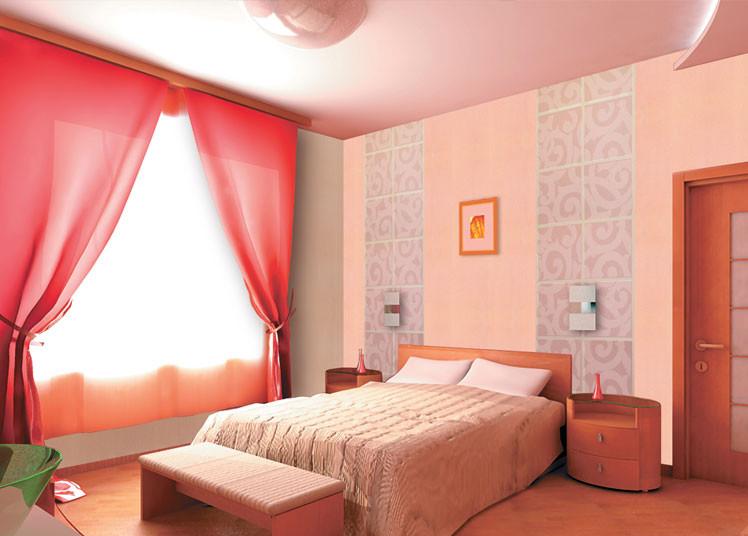 спальня: обои вертикальными полосками: светлорозовый и сиреневый цвет