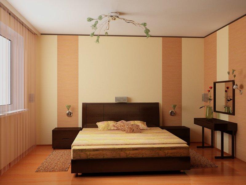 спальня: обои вертикальными полосками: 2 разных оттенка песочного цвета